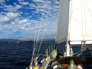 approaching coast under sail