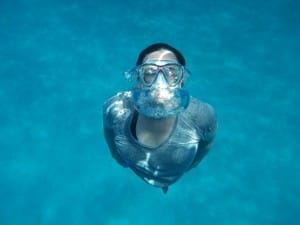 swimming underwater