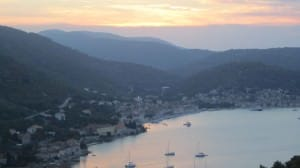 vis harbor sunset