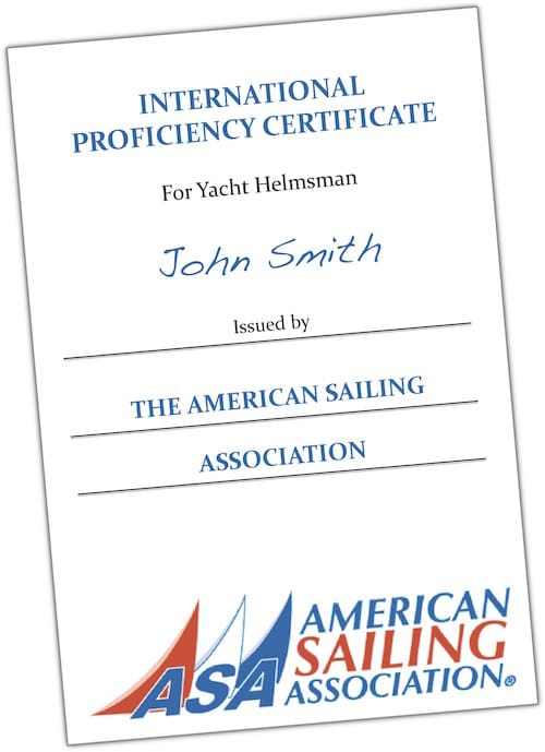 International Proficiency Certificate American Sailing Association