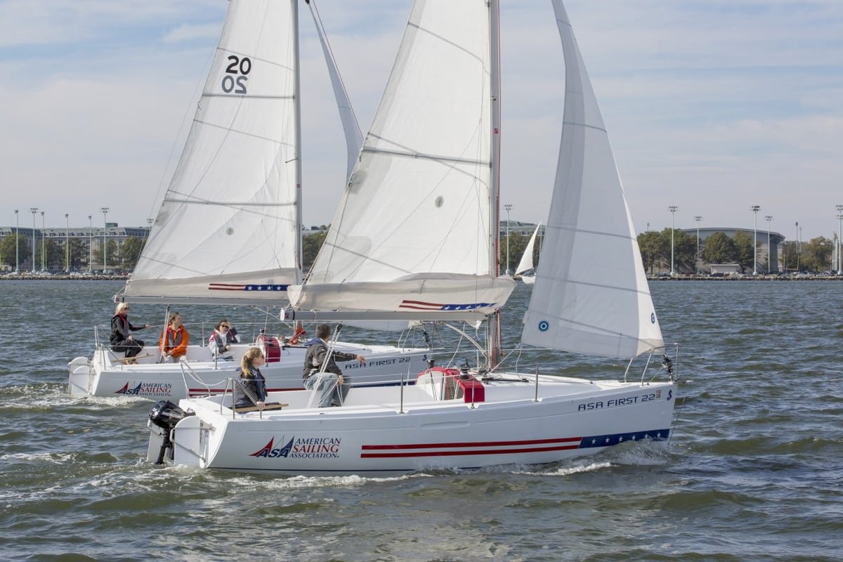 American Sailing Association First 22 built by Beneteau sailing in Annapolis MD.
