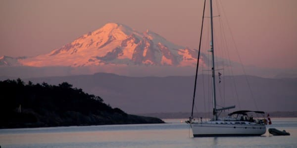 San Juan Flotilla 2016 - Sailboat at Anchor, Mt Baker, Sunset