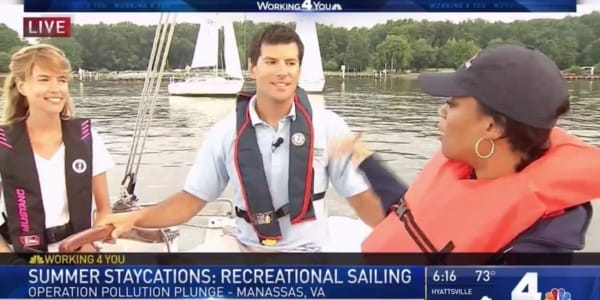 Plastic Pollution Purge: NBC 4 with Cameron Sarik from Northern Virginia Sailing School in Woodbridge, Virginia