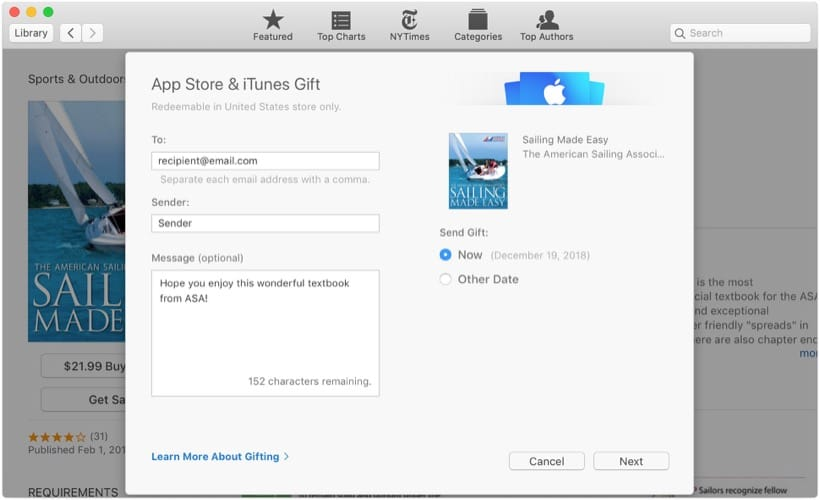 Gift ASA Textbook Via Apple Books on a Mac