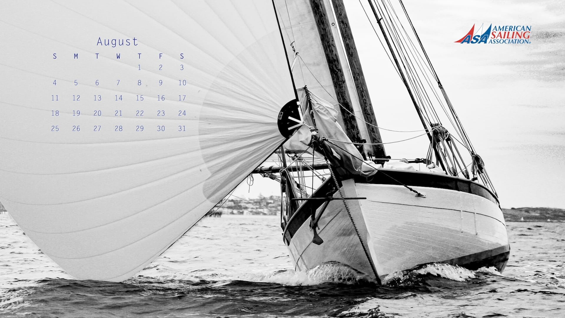 ASA Desktop Wallpaper Sailing Calendar - August 2019