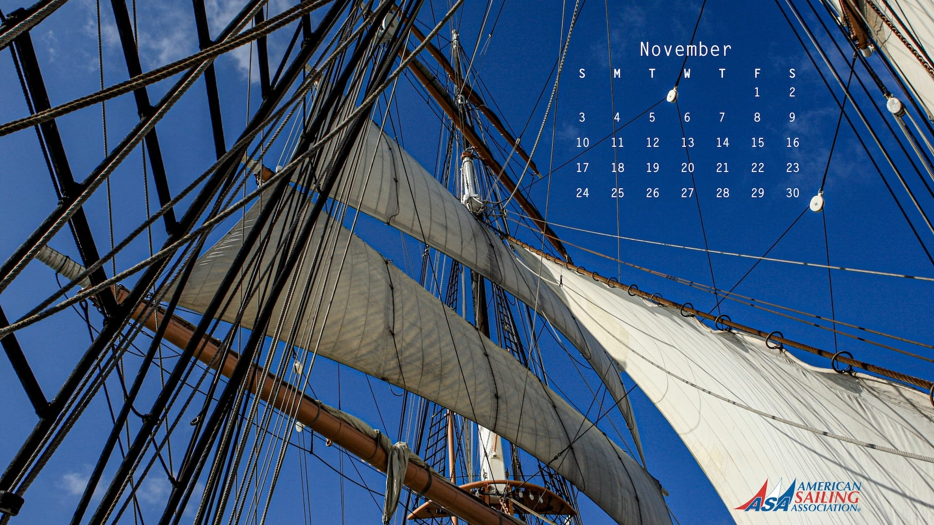 ASA Desktop Wallpaper Sailing Calendar - November 2019