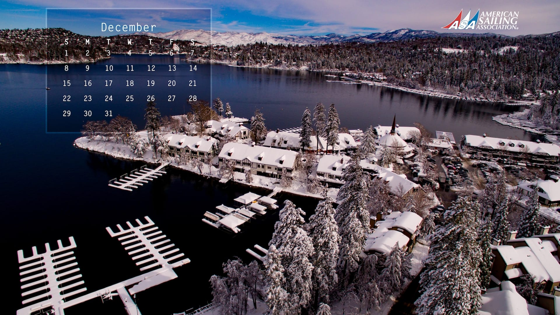 ASA Desktop Wallpaper Sailing Calendar - December 2019